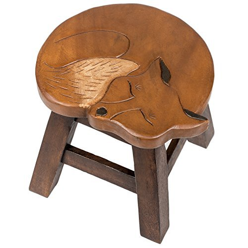 Fox Design Hand Carved Acacia Hardwood Decorative Short Stool by Sea Island Imports