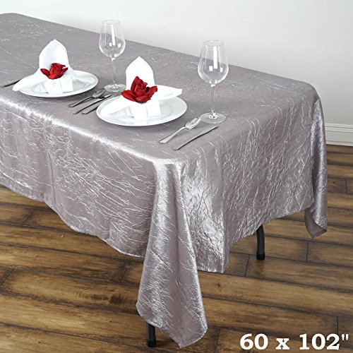 (Efavormart 60x102 Silver Crinkle Taffeta Rectangle Rectangle Tablecloth for Catering Wedding Party Decorations)