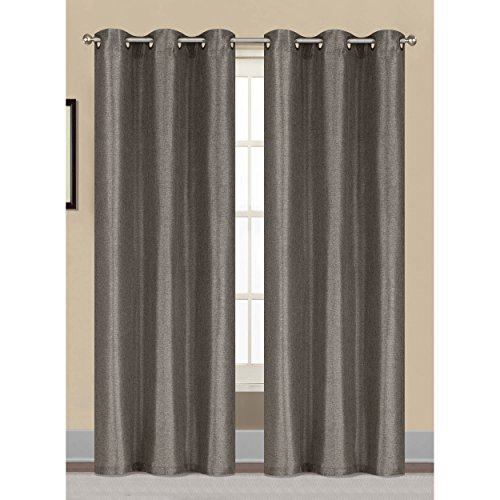 Window Elements Willow Textured Woven 76 x 84 in. Grommet Curtain Panel Pair, - Fashion Group Willow