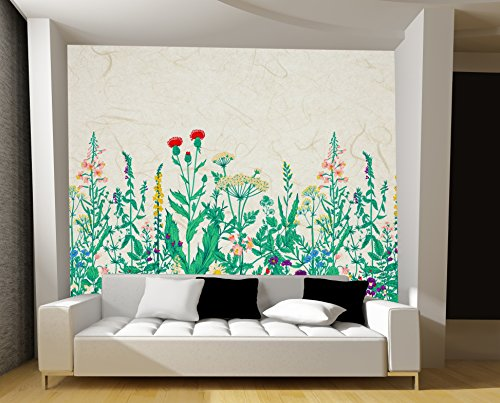 Large Wall Mural Various Flowers on Light Brown Textured Background Vinyl Wallpaper Removable Wall Decor