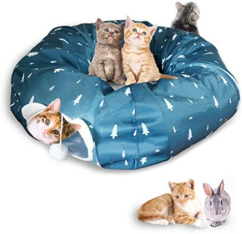 AUOON Cat Tube and Tunnel with Central Mat for Cat Dog, Soft Mink Cashmere and Full Moon Shaped, Length 98 Diameter 9.8 , 2 Color
