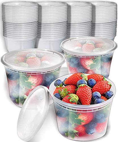 50pk 16oz Small Plastic Containers with Lids - Freezer Containers Deli Containers with Lids - Plastic Food Storage Containers with lids Plastic Food Containers with Lids Plastic Container ()