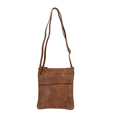 Hidekraft 100% Genuine Leather Womens Sling Bag, Tan, Vintage ...