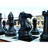 Quadruple Weight Tournament Chess Game Set - Staunton Ivory Pieces & Black Vinyl Board