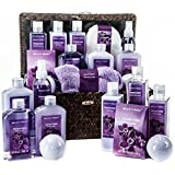 Fields of Lavender Spa Gift Basket - The Perfect Gift for Her - Includes Bubble Bath, Bath Fizz, Hand Lotion, Body Spray, Bath Salts and more