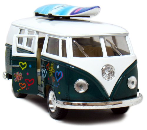 "Set of 12: 1962 VW Classic Bus Flowers and Surfboard 1/32 Scale (5"")."