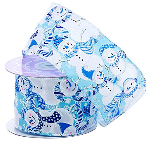 """Holiday Wired Winter Decoration Ribbon - 2 1/2"""" x 10 Yards, Shiny Snowmen with Blue Hats and Scarves on Light Blue Ribbon, Christmas Tree Ribbon, Garland, Gifts, Wrapping, Wreaths, Bows"""