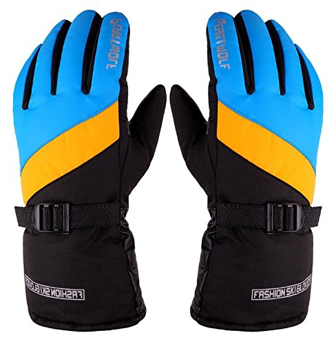 Men's Cycling Ski Gloves Waterproof/Windproof/Anti-Slip/Breathable Outdoor Sports Gloves Winter Thickened Warm Gloves (Blue and Yellow)