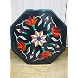 """18"""" Black Coffee Table Side Table End Table Patio Garden Table Sofa Table Octagon Shape Stones Inlai Marble Table Top"""