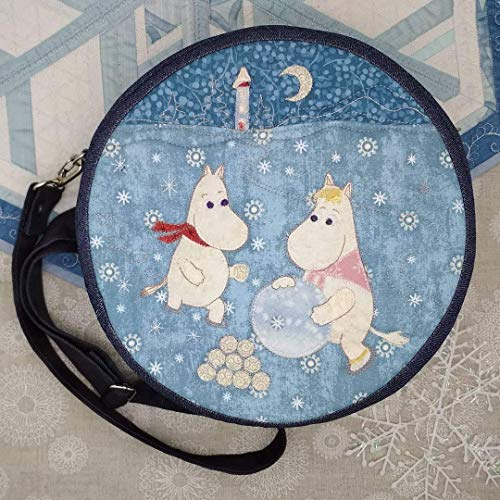 Moomin Blue Round Crossbody or Shoulder Bag - Handmade Denim Applique Patchwork Quilted - for Women and Girls - Winter in Moomin Valley