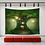 LBKT Mystic Fairy Tale Tree Tapestry Wall Hanging Mysterious Fairytale Forest Tree House Mystical Lights Wood House Tapestry Wall Decor Art Tapestries for Bedroom Living Room College Dorm 90''x60''