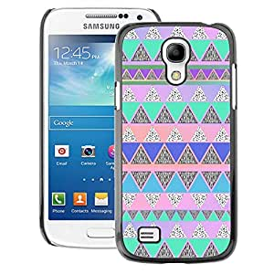 A-type Arte & diseño plástico duro Fundas Cover Cubre Hard Case Cover para Samsung Galaxy S4 Mini i9190 (NOT S4) (Native American Pattern Pink Teal)