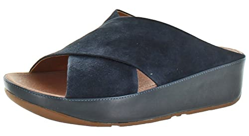 1ae449056 FitFlop Women s Kys Casual Slide Sandal Leather Blue Size 7  Amazon ...