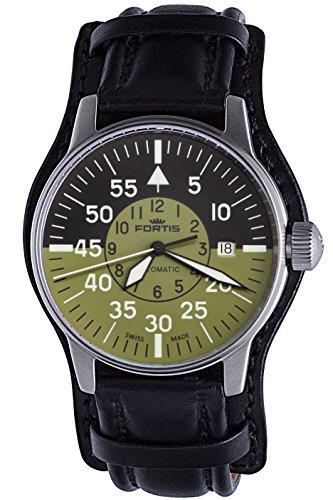 fortis-mens-5951116-l01-flieger-cockpit-olive-self-wind-black-stainless-steel-watch