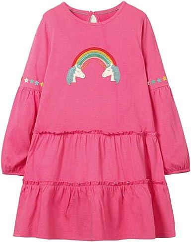 BRAN Falda pequeña Vestido de niña de Manga Larga con Ropa de algodón con Aplicaciones de Animales, Ropa para niños, Ropa para niñas, Vestido de Princesa 2T 91: Amazon.es: Ropa y accesorios