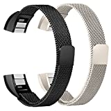 bayite For Fitbit Alta HR and Alta Bands Pack of 2, Replacement Milanese Loop Stainless Steel Metal Bands Women Men, Champagne Gold and Black 6.7'' - 8.1''