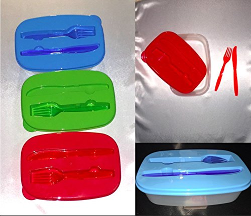 aromdeeshoppingプラスチックボウルコンテナFast Shipping昼食、フォーク、ナイフ、   B07B6VH3Y8