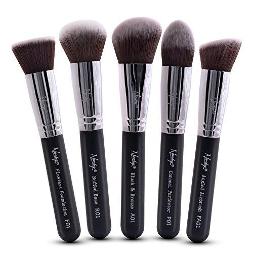 (Nanshy 5 Piece Kabuki Makeup Brush Set - Face Application Contouring Blending Liquids Creams Mineral Powders - Onyx Black Kit)