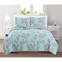 Sharon Collection 3-Piece Luxury Quilt Set with Shams. Soft All-Season Microfiber Bedspread and Coverlet with Unique Pattern. By Home Fashion Designs Brand. (King, Icy Morn)