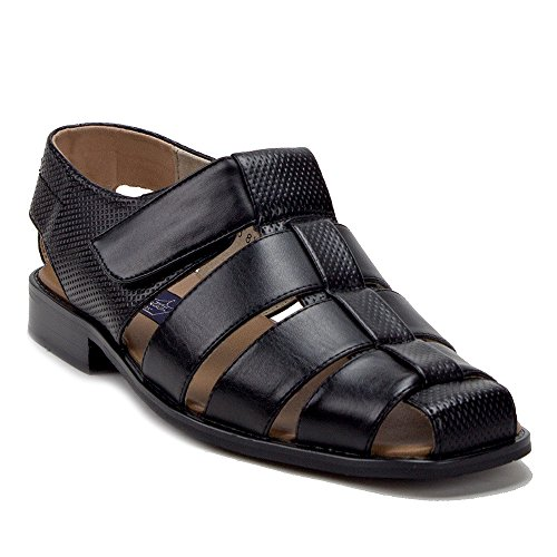 Mens 44327 Leather Lined Caged Closed Toe Slip On Dress Sandals