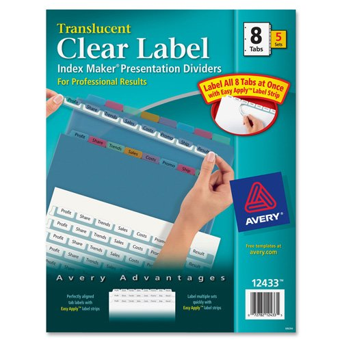 Index Label Dividers, Plastic, 5-Tab, 3HP Punched, Clear (Tab 5 Punched Plastic 3hp)