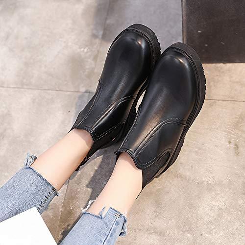 Unie Rond Nias Bout Chaussures Couleur Tuc Femmes Tec Agua Cuir En De Rain Pour Xti Bottes Nia Moto Plates Hi Alikeey Black Martain d7qwIgTT
