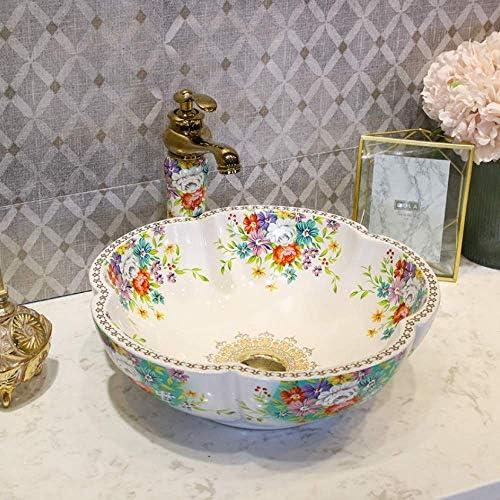バスルームのシンクの蛇口セットボウルセラミックシンク中国の洗面台セラミックカウンタートップは、白いセラミック洗面台のバスルームのシンクをバラ,操作簡単