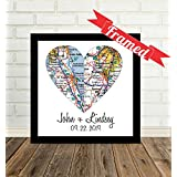 Custom Wedding Couple Split 2 Heart Maps Art Print, FRAMED ART, Wedding gift, Personalized & Customized, Engagement Gift, Anniversary Gift, Valentines day gift, Housewarming gift