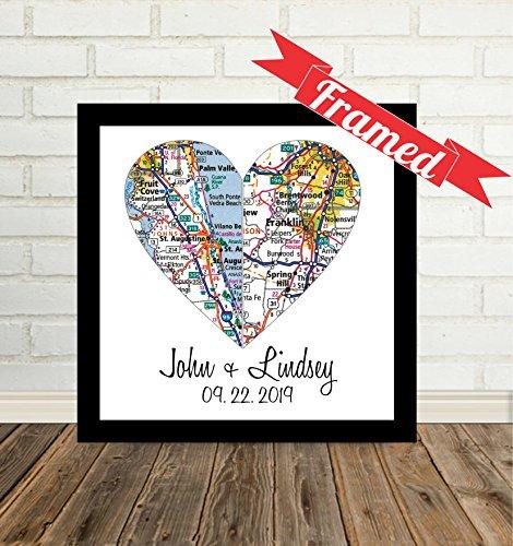 (Custom Wedding Couple Split 2 Heart Maps Art Print, FRAMED ART, Wedding gift, Personalized & Customized, Engagement Gift, Anniversary Gift, Valentines day gift, Housewarming gift)
