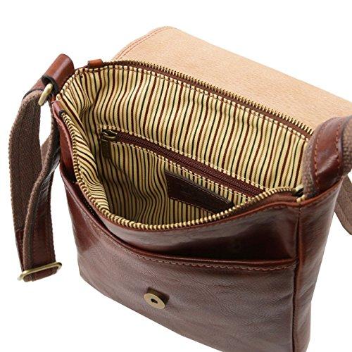 Tuscany Leather John - Bolso en piel para hombre con cremallera frontal Miel Bolsos en piel Marrón