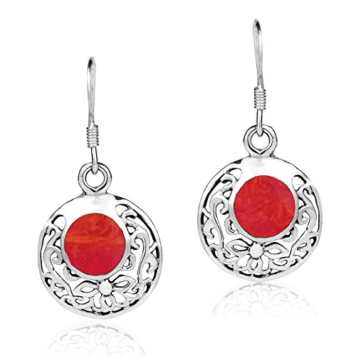 Coral Inlay Earrings - Swirl Circle Filigree Reconstructed Red Coral Inlay .925 Sterling Silver Dangle Earings