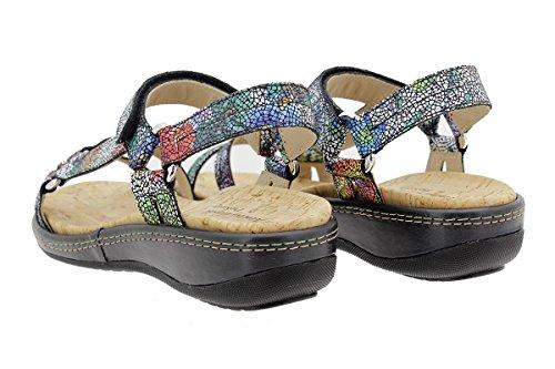 À 180913 Sandales Amovible Femme Confort Fleurs Noir Semelle Chaussure Piesanto ZxnSWAx