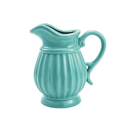 Amazon Dvine Dev 7 Inches Tall Blue Ceramic Pitcher Vase