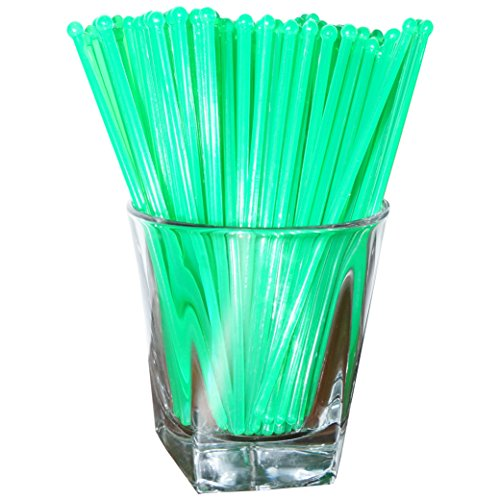 Royer 6 Inch Plastic Round Top Swizzle Sticks, Set of 48, Fluorescent Day-Glow Green - Made In USA (Glow Drink)