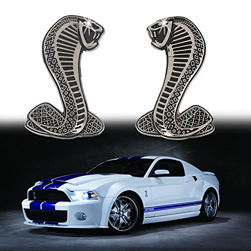 2x Cobra Snake Emblem Chrome Metal Door Fender Badge Stickers for Ford Mustang - Emblem Gt Fender