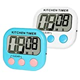Digital Kitchen Timer, MOMONY 2 Pack Cooking Timer Clock, Loud Alarm Large LCD Display with Magnetic Backing Stand, Minute Second Count Up Countdown for Home Cooking Backing