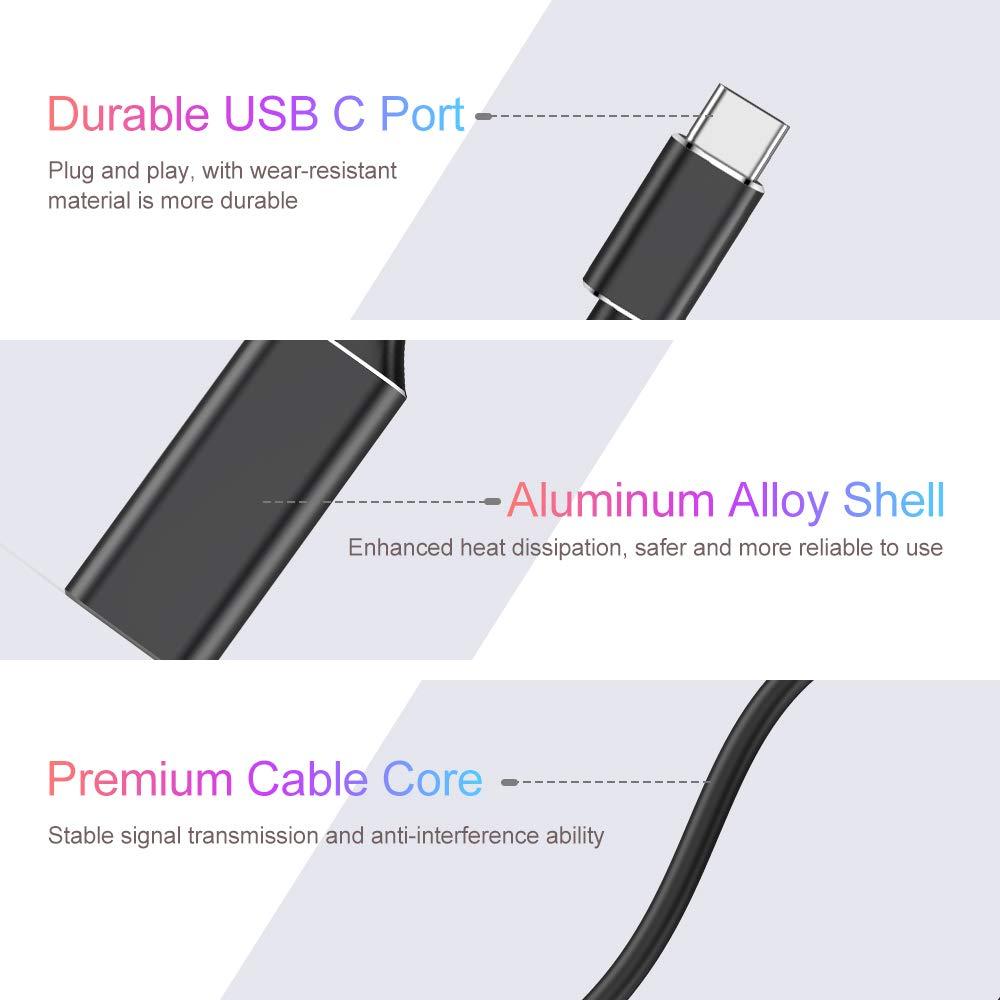 Adaptador Convertidor USB C a HDMI para MacBook Pro 2018//2017//2016 Samsung Negro Huawei Mate 20 MacBook Air Adaptador USB Tipo C a HDMI Adaptador USB C a HDMI Compatible con Thunderbolt 3