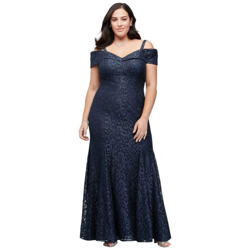 d6f3d5ea18 Cold-Shoulder Glitter Lace Plus Size Mermaid Mother of Bride Groom Dress  Style 2047W at Amazon Women s Clothing store