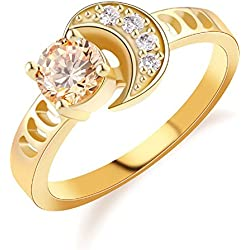 T-Jewelry Fashion Gold Plated Ring For Women Luxury Moon Finger Orange Jewelry Wedding Rings