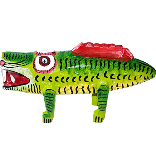 (Premium Decorative Wooden Art from Guatemala. Hand Carved Decor Crocodile Made With 100% Real Wood. Perfect For Home, Living Room & Bedroom Decorations )