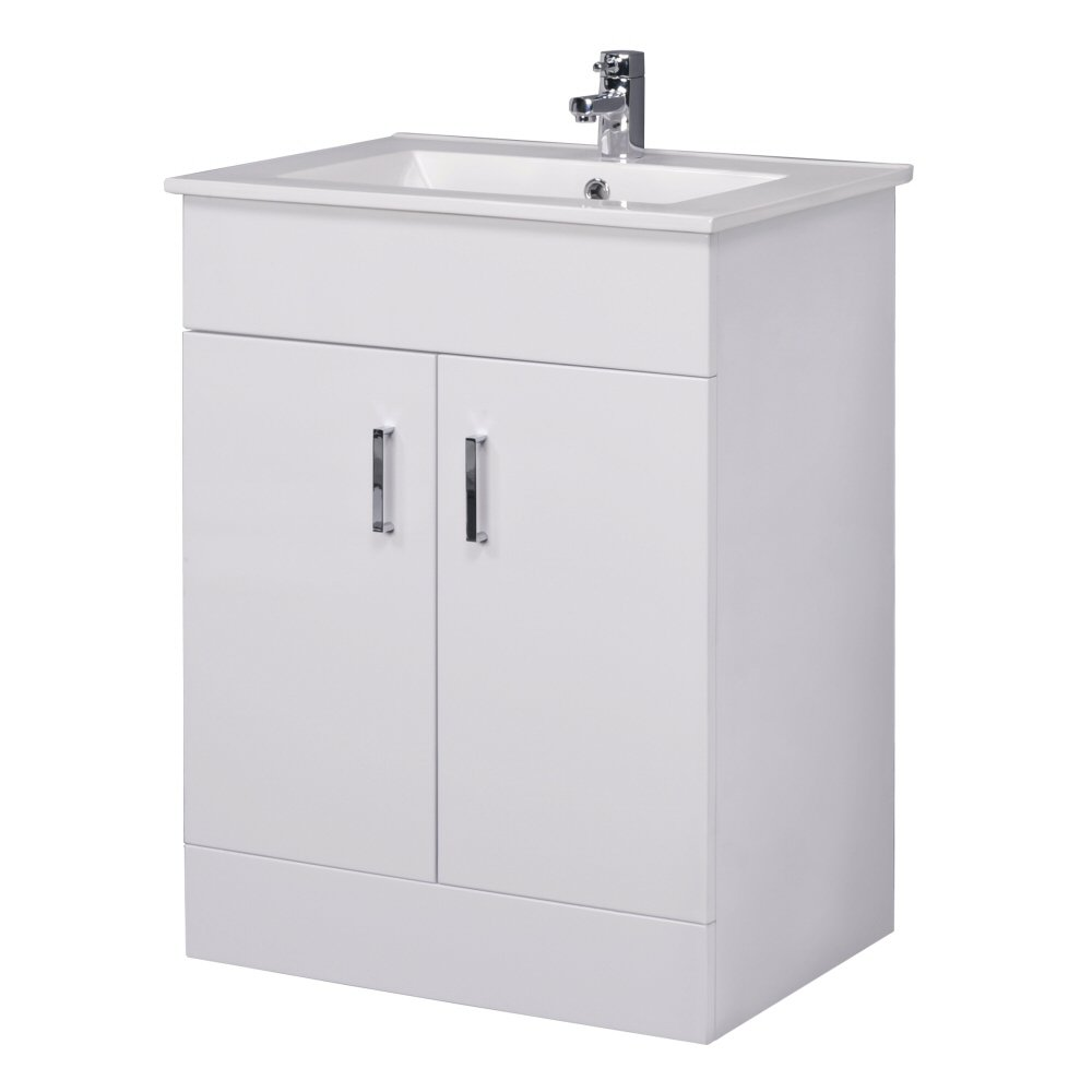 Bathroom sinks and vanity units - Minimalist 600mm White Gloss Vanity Unit With Ceramic Basin Sink Bathroom Storage Cloakroom Cabinet Furniture
