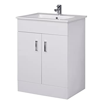 Minimalist 600mm White Gloss Vanity Unit with Ceramic Basin Sink   Bathroom  Storage   Cloakroom CabinetMinimalist 600mm White Gloss Vanity Unit with Ceramic Basin Sink  . Sink With Vanity Unit. Home Design Ideas