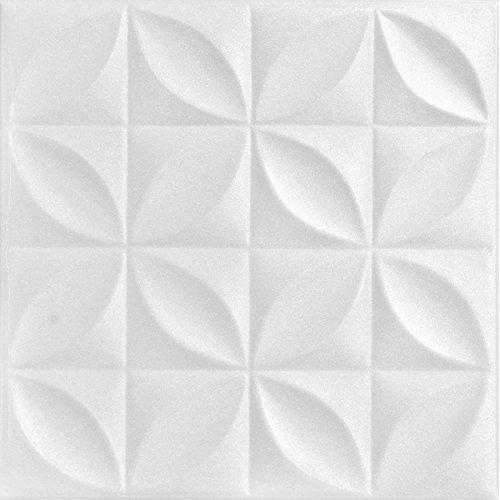 A la Maison Ceilings 819 Perceptions - Styrofoam Ceiling Tile (Package of 8 Tiles), Plain White (Ceiling Tiles Glue)