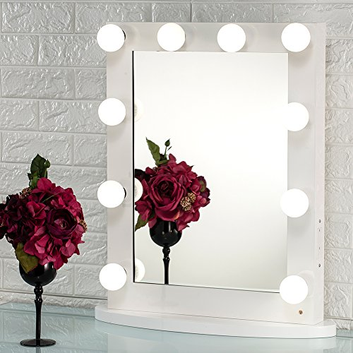 Joyful Store White Hollywood Makeup Mirror,Lighted Vanity Mirror,Tabletop or Wall Mounted Cosmestic Mirror with LED Lights,Back Stage Beauty Mirror with 12 Free Dimmer Bulbs Backstage Beauty Box