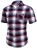 Hanmor Men's Casual Cotton Short Sleeve Plaid Western Button Down Dress Shirts Red Medium