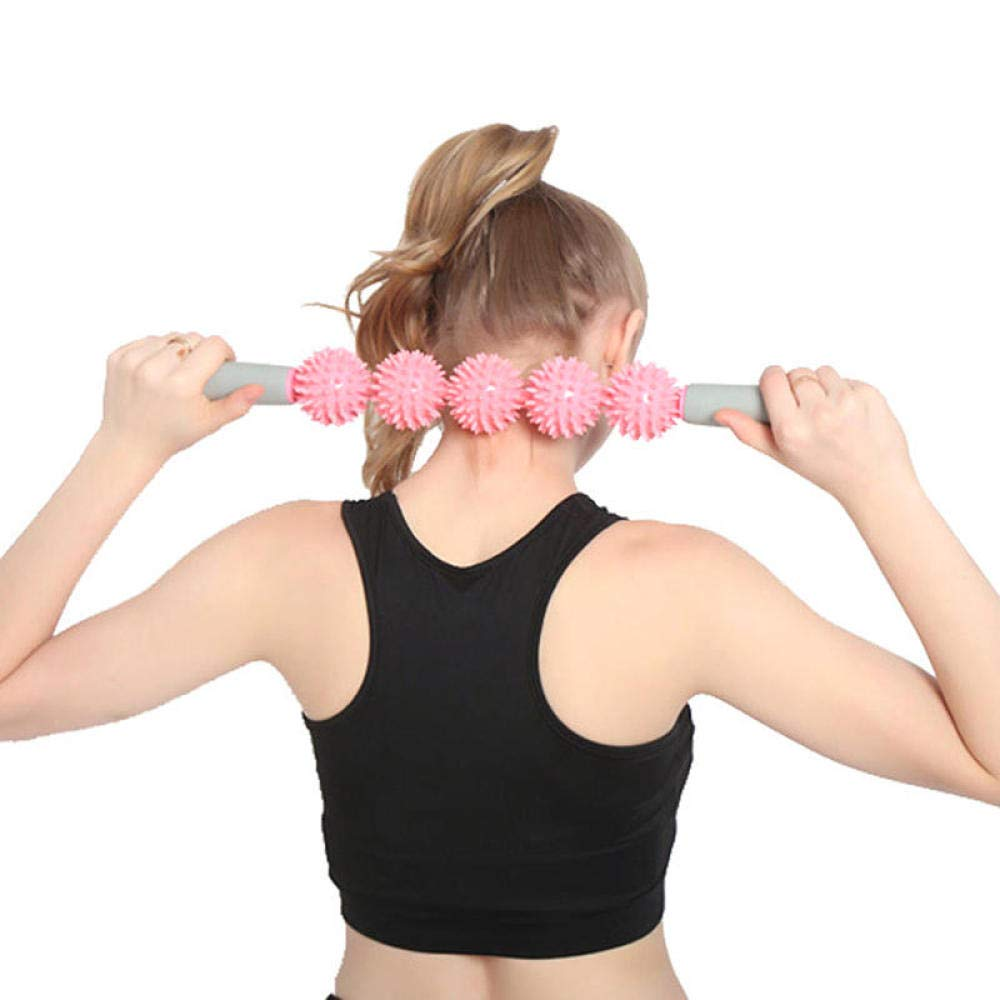 nouler 5 Rollers Massage Yoga Sports Hedgehog Ball Exercise Tools Eliminate Fat Health Care Bar,Pink,One Size