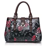 APHISON Designer Unique Embossed Floral Cowhide Leather Tote Style Ladies Top Handle Bags Handbags C817
