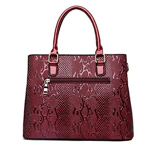 Pezzi Dexinx Vino Solido un Rosso Donna Schiocco Jacquard Set Casual Borsetta 2 Portafogli Colore di Pelle in Exquisite 1wR1pZqrS