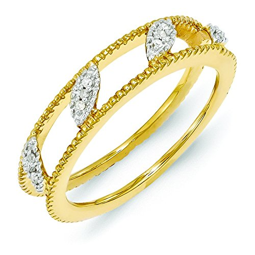 4.75mm Sterling Silver Polished Prong set Stackable Expressions Gold-Flashed Diamond Jacket Ring - Size 9