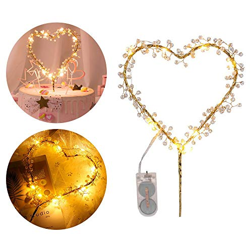 KIPETTO Love Heart Pearl Cake Toppers with LED Light for Birthday Wedding Anniversary Party Decor